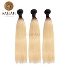 Sahar Brazilian Remy Hair Weave Bundles T1b/613 Honey Blonde Color Straight Hair Extensions 1/3/4 Bundles 100% Human Hair Weft