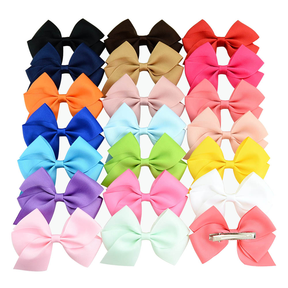 1PCS   4 Inch Boutique Baby Ribbon Bows With Clip Hair Accessories For Baby Girls Children Hair Pins Hair Accessories Best Gift 6 pcs lot infant toddlers ribbon nylon headband boutique elastic band for pretty children baby hair accessories
