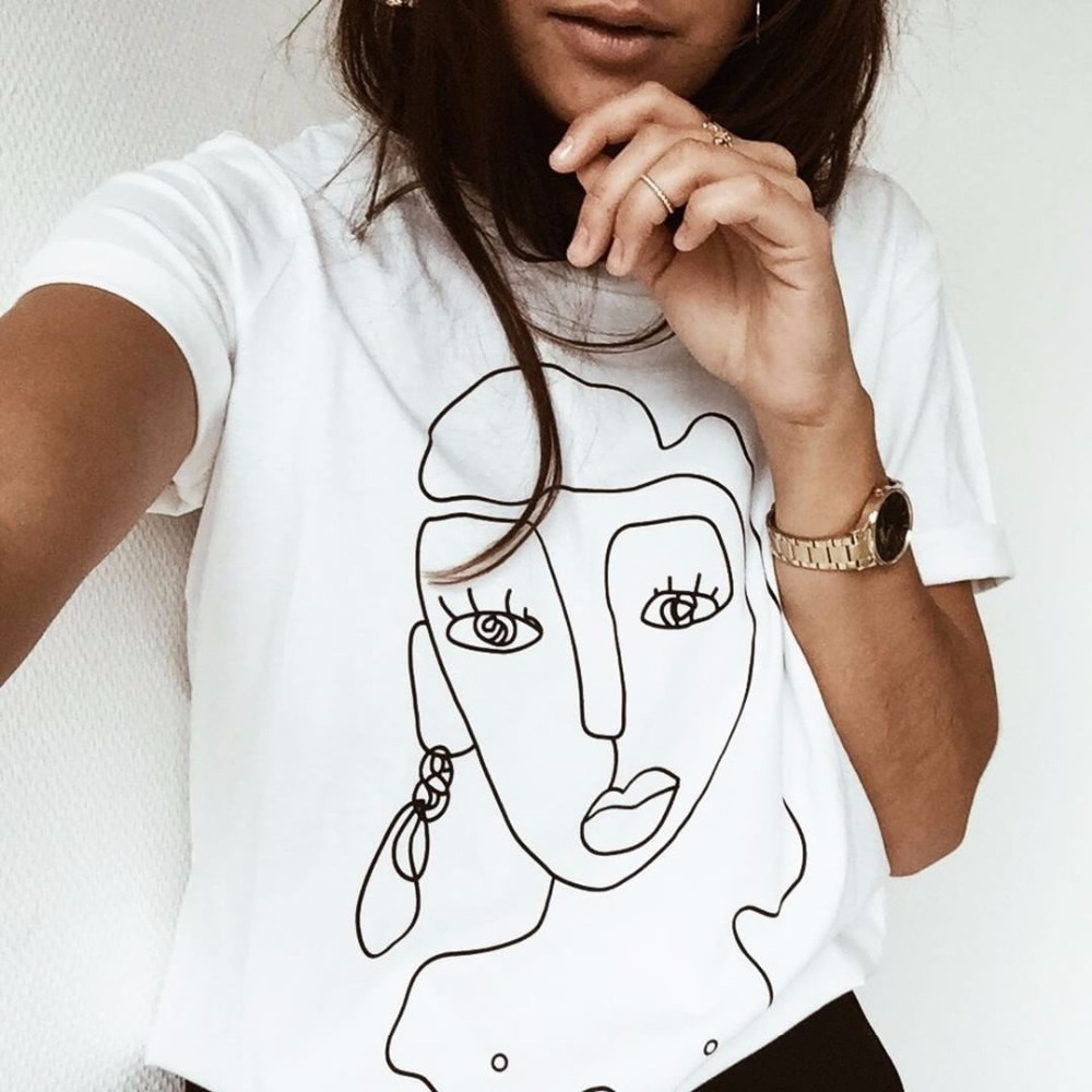 Street Style Funny Printed T Shirt Women Tops Casual Summer T-Shirt Woman Tshirt White Tee Shirt Femme Camiseta Feminina