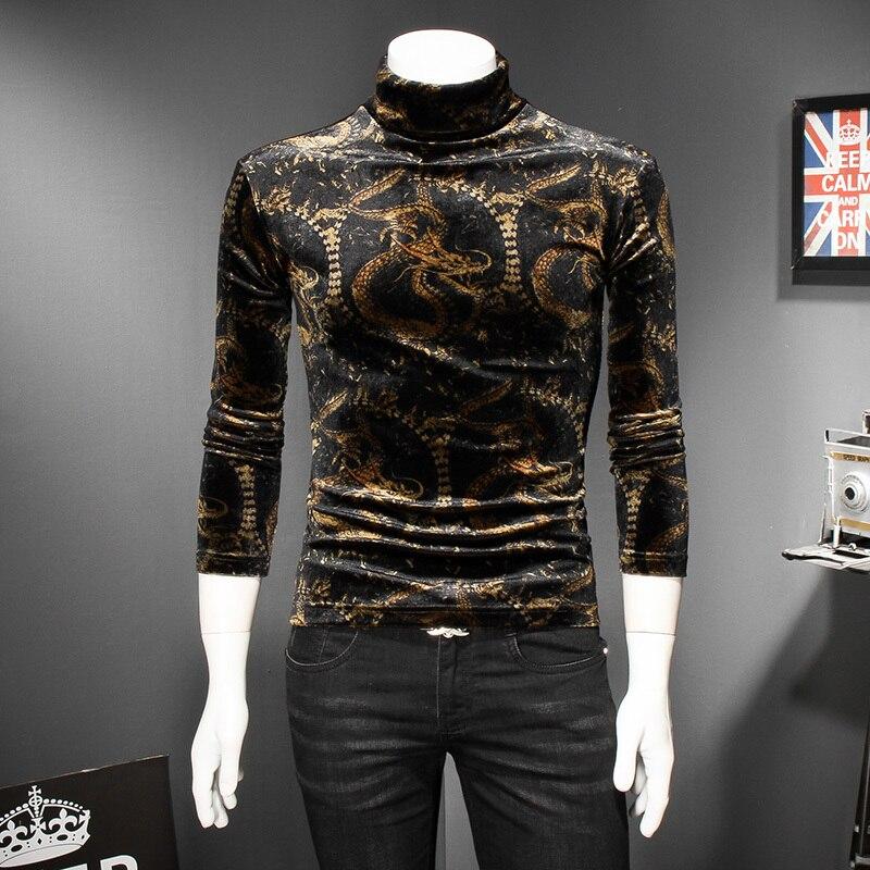Velluto Della MAGLIETTA Degli Uomini di Drago D'oro di Stampa di Qualità di Hight Collo Slim Fit Uomo Tshirt Club Abiti Royal Uomini Maglietta Degli Uomini di 5xl