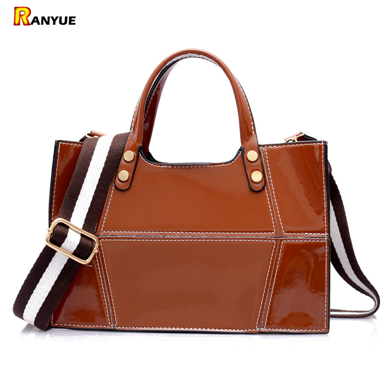 Luxury Designer Patent Leather Tote Bag Handbags Women Famous Brands Women Bags Wide Strap Shoulder Crossbody Bag Patchwork Sac