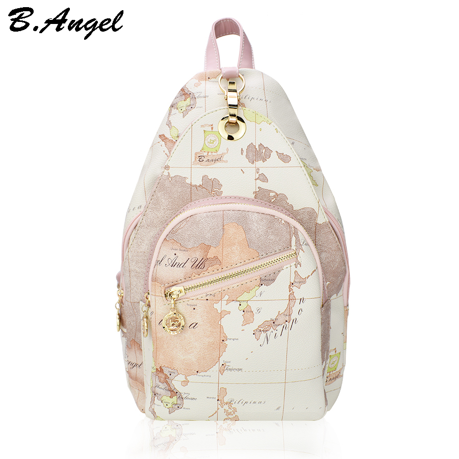 Good quality school backpack vintage world map men women backpack leather printing backpack women men bag  school bag travel bag