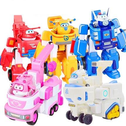 HOT 17*11 cm Super Ali giocattoli Aereo ABS Action Figures Super Ala Trasformazione Robot Jet di Animazione per il compleanno regali