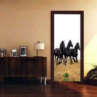 DIY Door Wall Stickers 3D Horse Pattern Poster Stickers Kid S Room Living Room Mural Poster