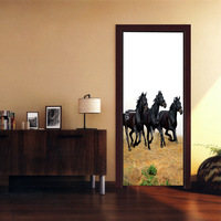 DIY Door Wall Stickers 3D Horse Pattern Poster Stickers Kid S Room Living Room Mural Poster