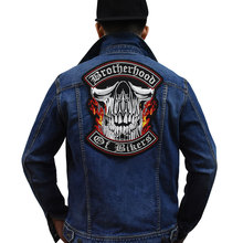 Brother Hoods of Bikers Large szie Skull biker Patch Custom Embroidered Rocker Iron On Sew on Patch Jacket for cloth vest coat