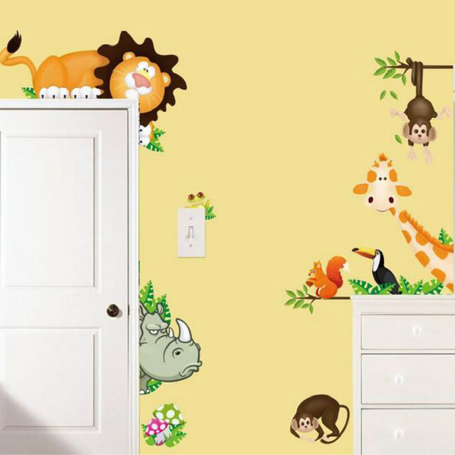 Animal Zoo Tiger Cartoon Children Kids Room Wall Stickers Home Decor ...