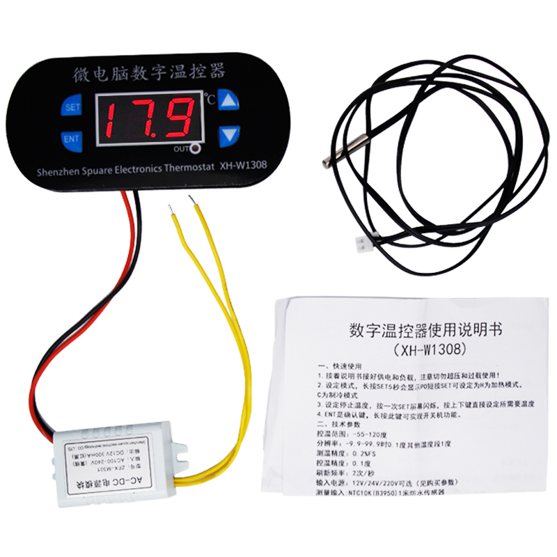 W1308 Digital  Temperature Controller Thermostat Switch Adjustable Cool Heat Sensor  Red Display 220v