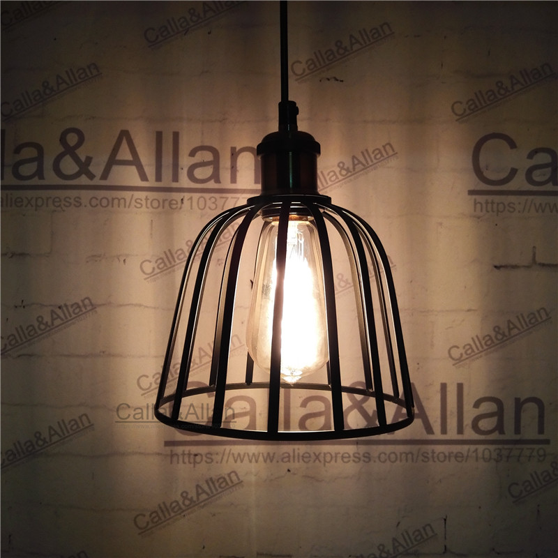 Black iron bird cage big size lampshade pendant light E27 industrial edison pendant lamp retro loft lighting for home decoration e27 pendant light hanging lamp iron bird cage modern light for home garden coffee room decoration