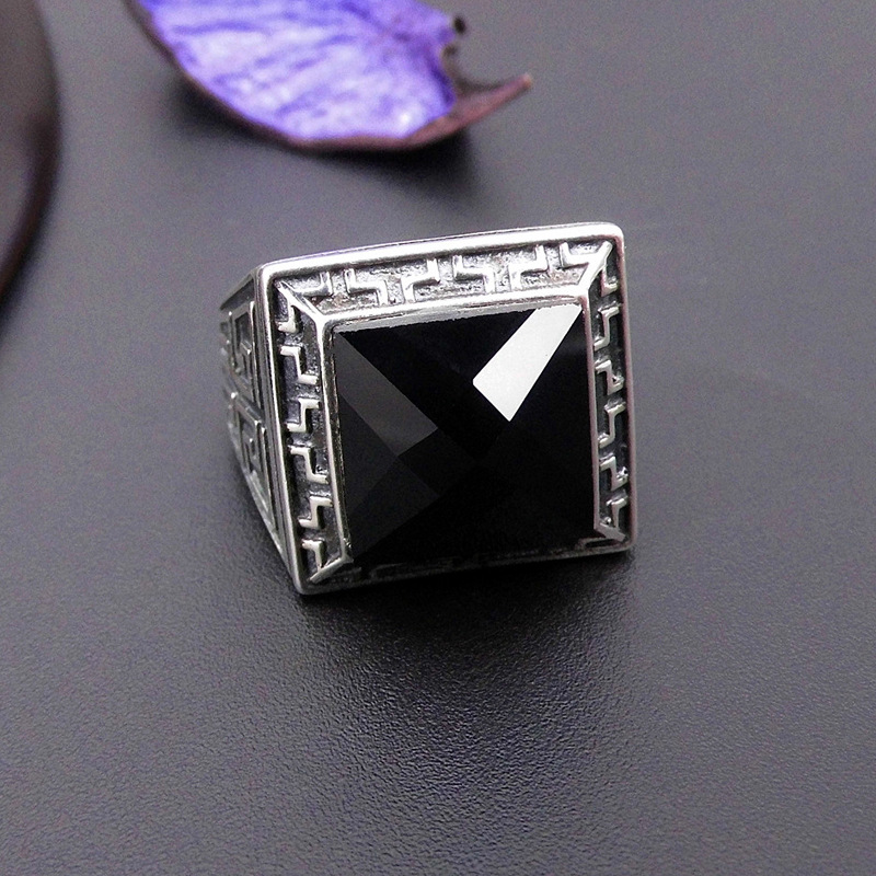 925 sterling silver Thai silver natural black man ring opening atmosphere style restoring ancient ways 2018 direct selling anel feminino thai restoring ancient ways leading mosaic unique ring wholesale corundum man with ambition