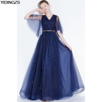 YIDINGZS Navy Blye Sparkle Long Evening Dress Bling Bling V Neck Pleat Maxi Evening Party Dress