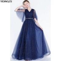 YIDINGZS Navy Blye Sparkle Long Evening Dress Bling Bling V Neck Pleat Maxi Evening Party Dress