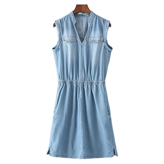 2016 Denim Dress Plus Size Women Sleeveless V Neck Elastic Waist