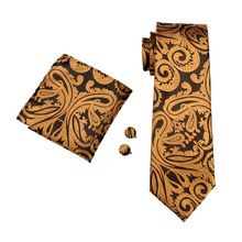 Barry.Wang Men`s Silk Jacquard Tie Hanky Cufflinks Set