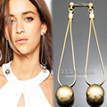 "Bling Runway 3.5"" LONG Shiny Ball Drop Snake Chain Dangle Chandelier Earrings Jewelry 2017 New"