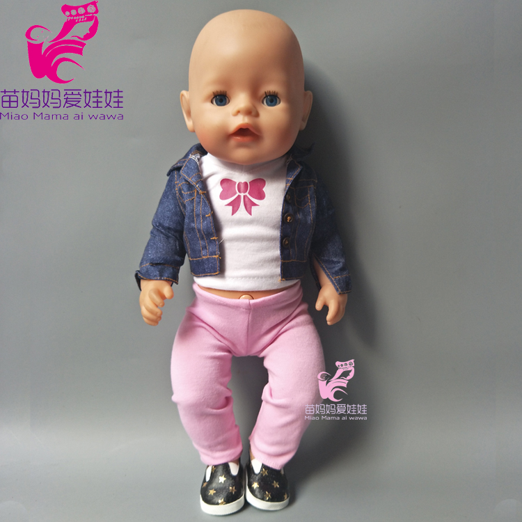 43cm Baby born doll Jeans clothes  white shirt pink pants set for 18 inch zapf dolls suit for doll baby girl dress up education