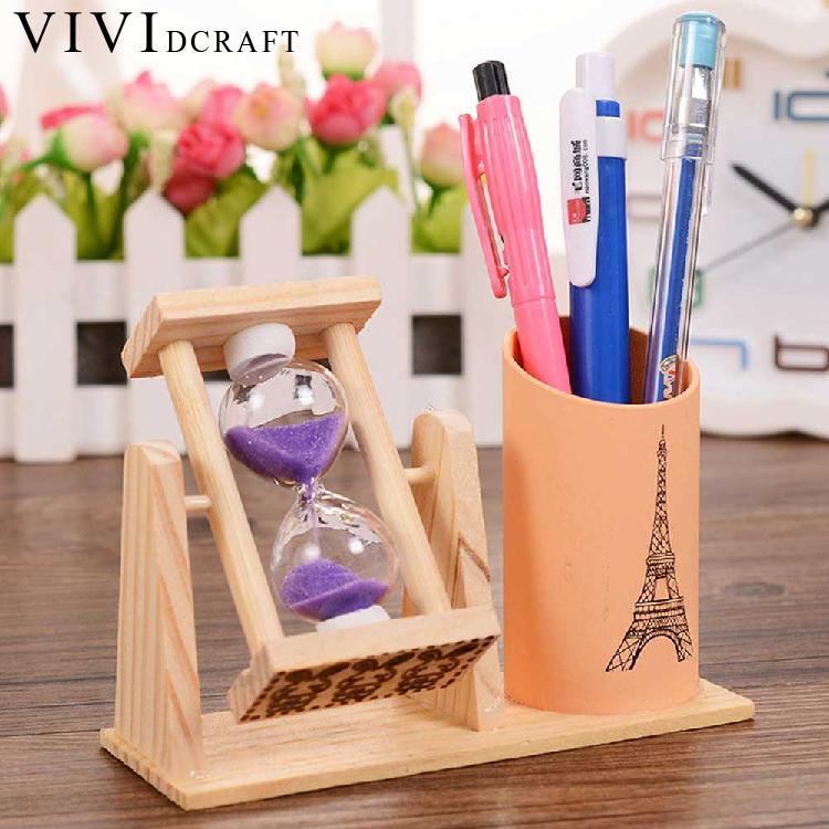 Vividcraft Creative Timer Wood Pen Holder Office Desk Accessories