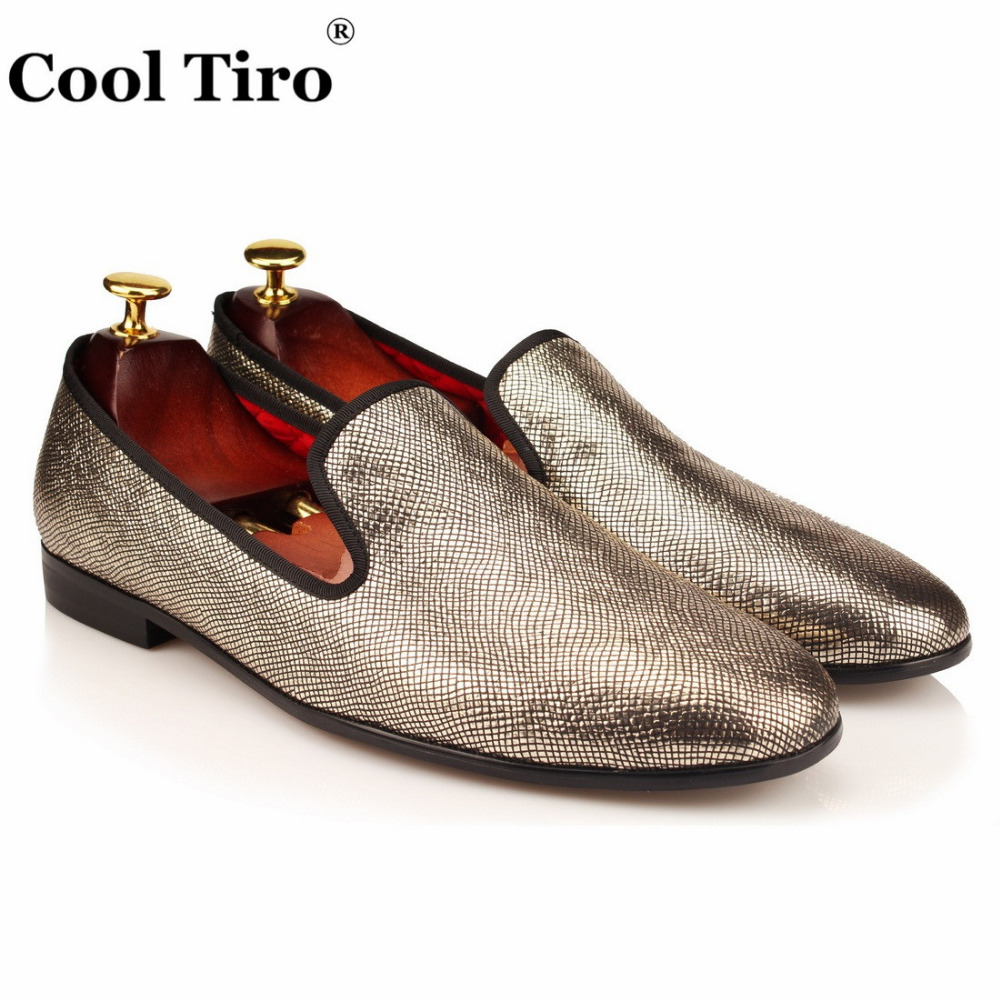 Cool Tiro Men Gold Bright Silk Lattice Lines Spring High Quality Breathable Loafers Casual Flats Autumn Smoking Slip On Shoes Superior Materials Men's Shoes