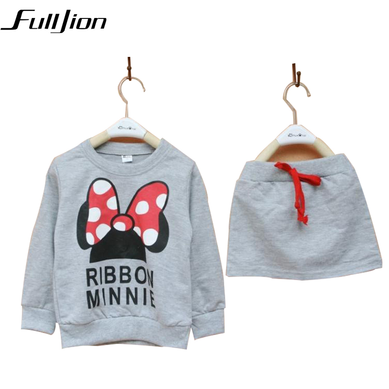 Cute Toddler Girl Clothing Sets Kids 2016 Spring Children MinnieClothes Cartoon Tshirt+ Skirt 2pcs set Tracksuits Hoodies +Pants fashion brand autumn children girl clothes toddler girl clothing sets cute cat long sleeve tshirt and overalls kid girl clothes