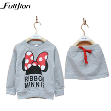Cute Toddler Girl Clothing Sets Kids 2016 Spring Children MinnieClothes Cartoon Tshirt+ Skirt 2pcs set Tracksuits Hoodies +Pants
