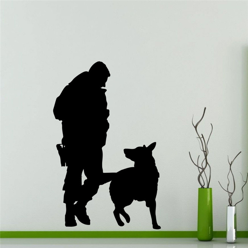 Police Officer Dog Wall Sticker Home Decor Kids Room Vinyl Wall Decals Military Art Decor Removable Silhouette Mural