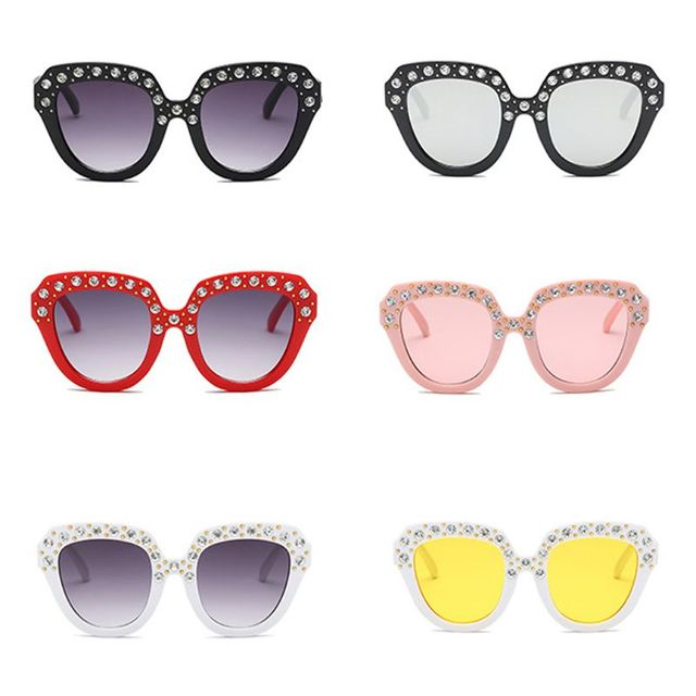 Baby Clothing Accessories Fashion Oversized Diamond Big Square Sunglasses Luxury Designer Kids Baby Mirror Sun Glasses For Girls