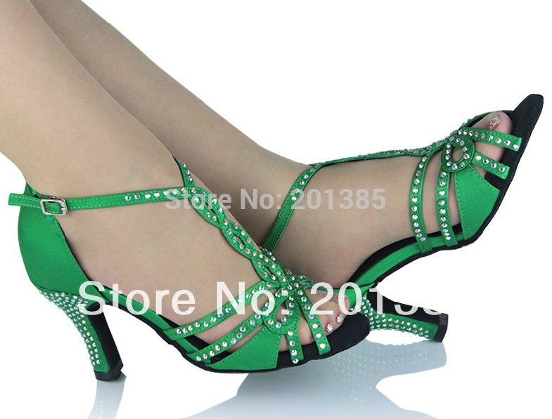 Nye Ladies Green Satin Crystal Rhinestone Ballroom Latin Samba Salsa - Kondisko - Foto 2