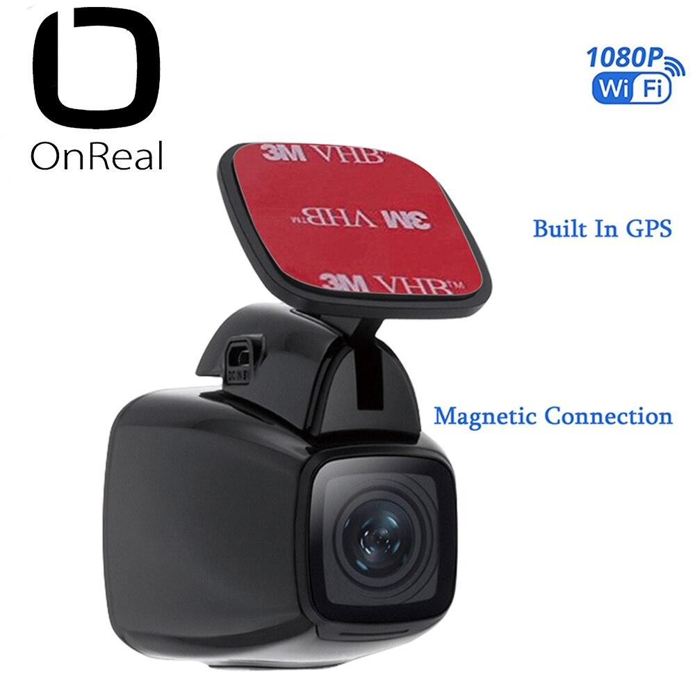 OnReal voiture DVR dash caméra Véhicule Caméra Aimant support FHD1080P avec GPS enregistrement