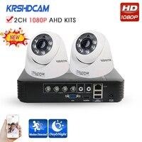 KRSHDCAM 4CH AHD DVR Security CCTV System 30M IR 2PCS 1080P CCTV Camera Home Indoor Camera