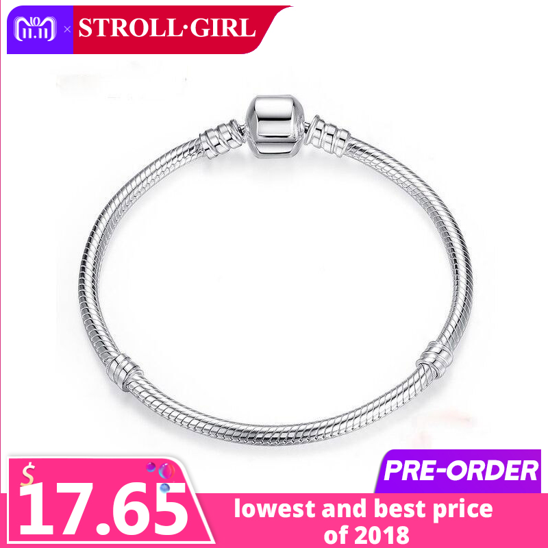 все цены на Strollgirl 20cm Snake Chain real 925 Sterling Silver original Charms Bracelet luxury Fashion diy Jewelry making for women gifts