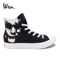 Wen Casual Black Mens Shoes Design Custom Joker Hand Painted Canvas Shoes High Top Lace Up Womens Flats Sneaker Adult Plimsolls
