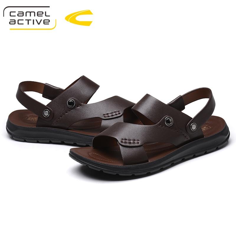 Camel Active Марка Лето Повседневное мужской Сандалии для девочек для Мужская обувь Пояса из натуральной кожи качество ходить пляжные удобные ди...