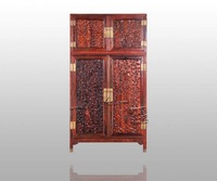 Antique Retro Rosewood Wardrobe Bedding Room Solid Wood Furniture Flat 2 Siliding Door Closet Padauk Garderobe