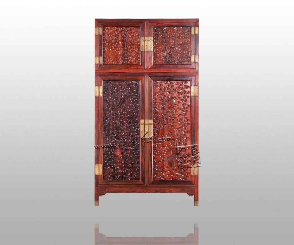 Antique Retro Rosewood Wardrobe Bedding Room Solid Wood Furniture Flat 2 Sliding Door Closet Padauk Garderobe Chinese Classical Drip-Dry
