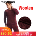 THREEGUN Hot Sale Mens Thermal Underwear Set Thick Plus Long Johns Velvet Winter Warm Wool Couple Thermo Underwear Stretch Cloth