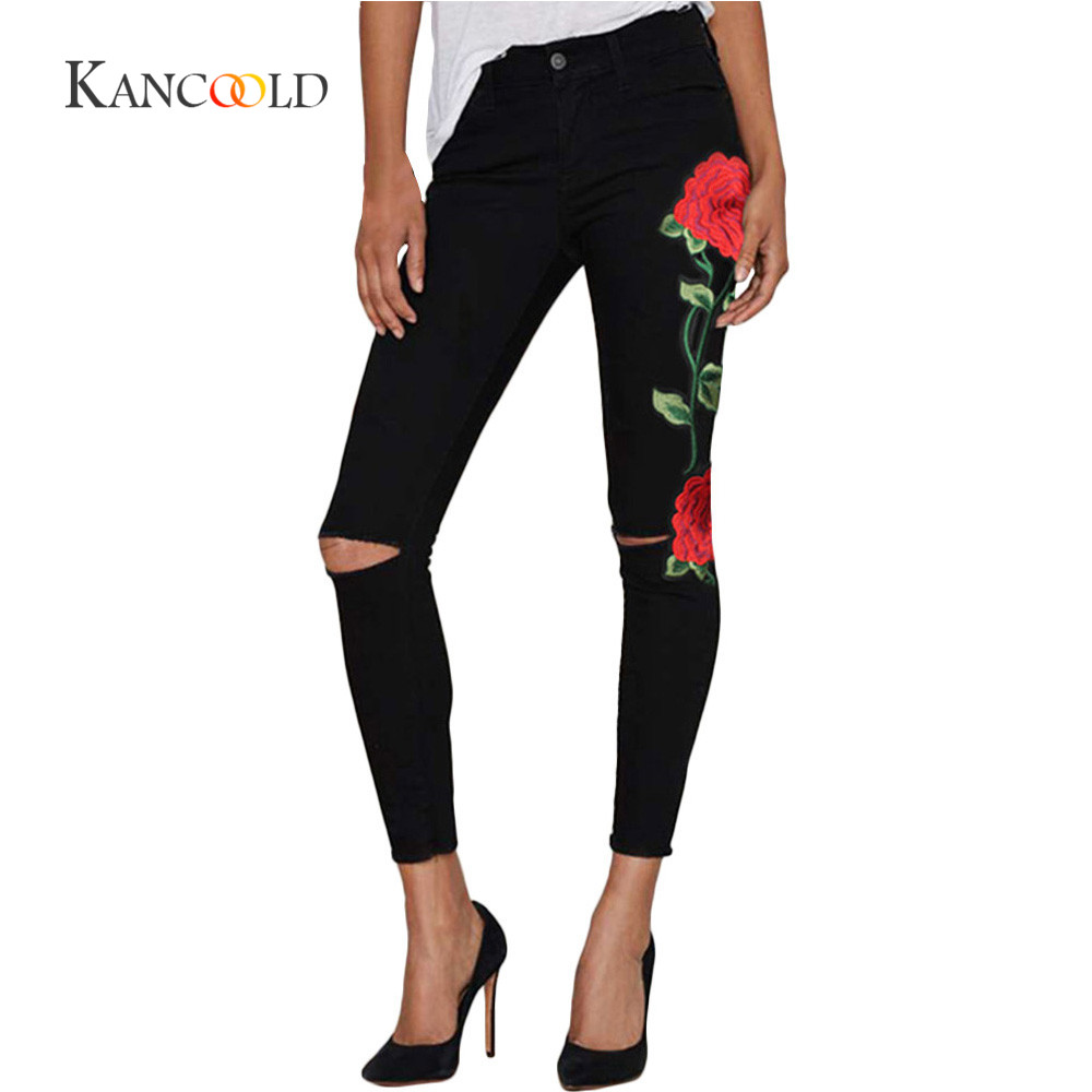 kancoold neue hohe taille schwarz stickerei jeans ohne. Black Bedroom Furniture Sets. Home Design Ideas