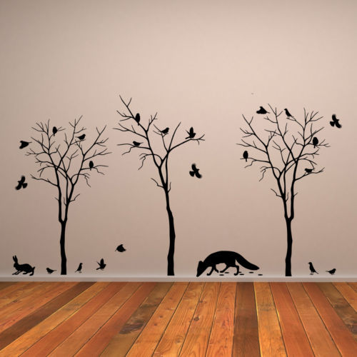 Vinyl wall decal trees fox flock of sparrows hare wall stickers home vinyl wall decal trees fox flock of sparrows hare wall stickers home decor wall stickers for thecheapjerseys Gallery