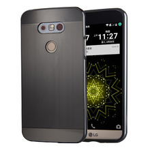 For LG G5 H868 Case Electric Plating Metal Frame and Wire Drawing Effect Acrylic Back Cover Cases for LGG5
