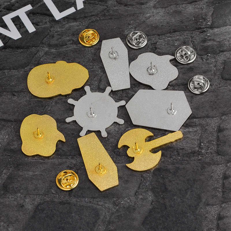 Preto caixão crânio navio leme batalha machado broche pinos botão punk ouro prata esmalte lapela pino emblema gótico jóias presente miúdo