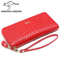 KANGAROO KINGDOM Fashion Famous Brand Women Wallets Genuine Leather Long Zipper Clutch Purse Card Holder Wallet