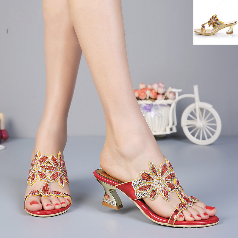 ФОТО 2016 Summer New Fashion Diamond Buckle Elegant Shoes 6cm Female Temperament Thick With Sandals Gold Red High Quality