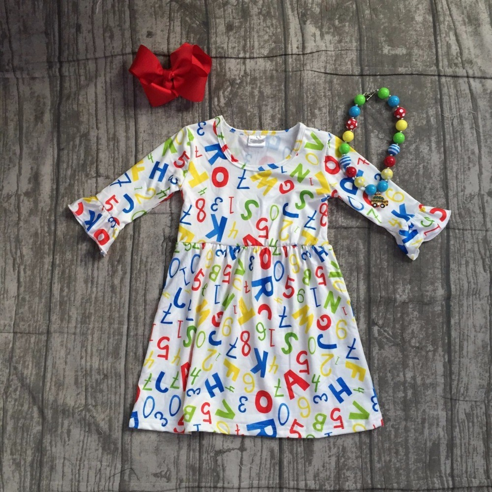 baby girls FALL dress girls back to school dress kids school day milksilk dress kids girls LETTER print dress with accessories tie back leaf tribal print beach dress