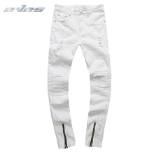 EVES Men Clothes 2019 Hip Hop Skinny Motorcycle Denim Pants Golden Zipper Designer White Jeans Mens Casual Trousers