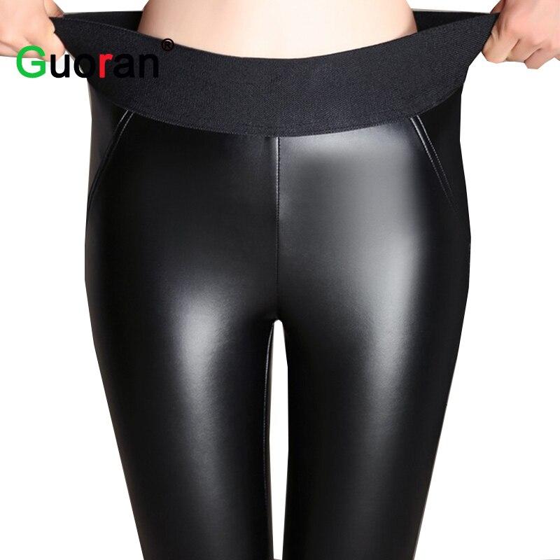 Elastische hohe Taille Frauen warme Winter PU-Lederhosen plus Größe - Damenbekleidung - Foto 2