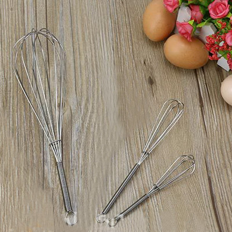 Stainless Steel Handle Egg Beater Drink Whisk Mixer Foamer Kitchen Egg Beater Mini Handle Mixer Stirrer Tools