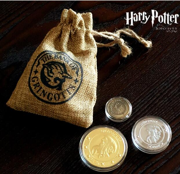 Hogwart Gringotts Bank Coin Collection Wizarding World Noble Halloween Christmas Gift 3pcs/set        for Harri Potter Cosplay