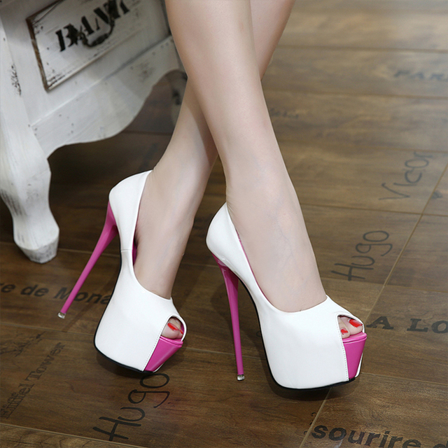 Women High Heel Pumps 2017 Fashion Platform Woman Dress Sexy Ladies Peep Toe Women Shoes size 34-40