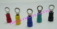 250 teile/los RV5.5-8 isoliert klemmenblock 12-10AWG 4-6mm2 kabel rot gelb blau grün schwarz fünf farbe gemischt