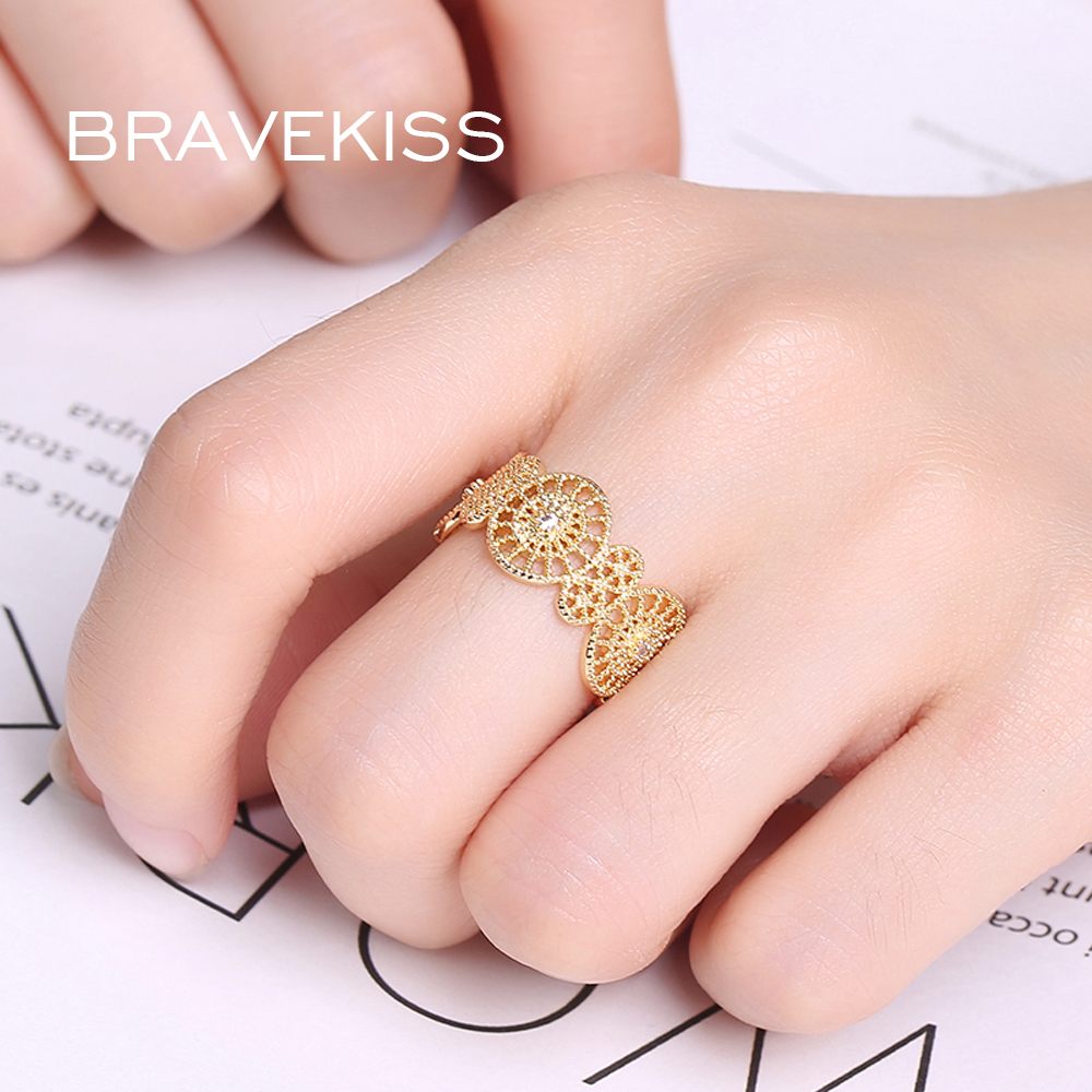 BRAVEKISS Gold Color Open Ring For Women Flower Lord Of The Rings ...