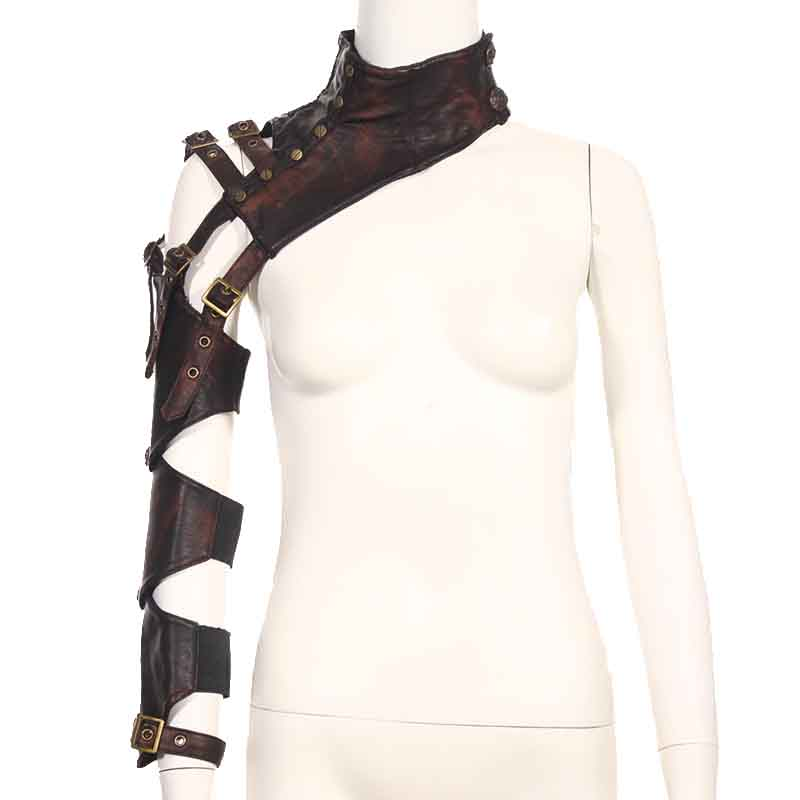 Brown PU Leather Rivet Belt Buckled Long Armor Arm Warmer Punk Rock Corsets And Bustiers Steampunk Gothique Corset Accessories